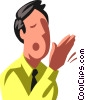 Vector Clipart graphic  of a businessman yawning