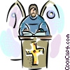 Vector Clip Art graphic  of a minister giving Sunday mass