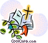 Vector Clipart image  of a Bible and cross