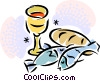 chalice, fish, bread Vector Clipart picture