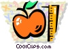 Apple and ruler Vector Clipart illustration