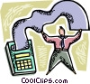 an accountant and his calculator Vector Clipart image