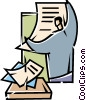 Doing Paperwork Vector Clipart image