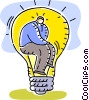 Man thinking with Idea Light bulb Vector Clipart image