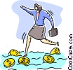 Woman carefully stepping on coins across water Vector Clipart illustration