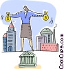 Woman balancing finance concept Vector Clipart graphic