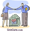 Vector Clip Art image  of a banking shaking hands after a