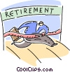 Senior Citizen running to retirement Vector Clipart graphic