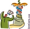 Vector Clipart graphic  of a Caduceus