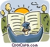 Graduate with report card and sun Vector Clipart image
