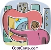 Student with apple doorway Vector Clipart graphic