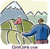 Vector Clipart picture  of a Reaching the Summit