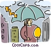 Woman protecting nest egg with umbrella Vector Clipart picture