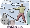 Man balancing on a tightrope Vector Clipart picture
