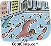 Business men in swimming race Vector Clip Art picture