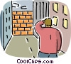 Man facing a brick wall Vector Clip Art picture