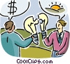 Man and woman analysing cost of an idea Vector Clipart graphic