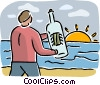 Vector Clip Art graphic  of a Message in a Bottle