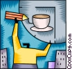 Vector Clip Art image  of a Having Coffee