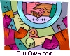 shaking hands over a contract Vector Clip Art picture