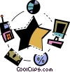 Information System and Process Vector Clipart illustration