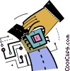 Vector Clipart image  of a Hand and computer chip