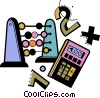 an abacus , calculator, and numbers Vector Clipart image