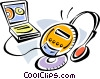 Vector Clipart illustration  of a Portable CD-ROM Players