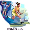 Vector Clip Art picture  of a Field Hockey