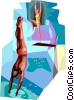 Vector Clipart image  of a Diving