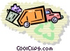 Vector Clip Art image  of a Garbage Trucks and Waste