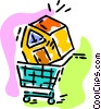 Vector Clip Art graphic  of a shopping for a house