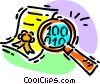 magnifying glass and an award certificate Vector Clipart image