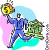 Vector Clipart picture  of a money man making a withdrawal
