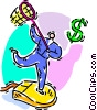 Vector Clipart illustration  of a money businessman chasing