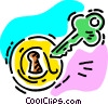 Vector Clip Art image  of a key and lock