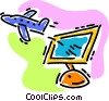 Vector Clip Art graphic  of a on-line travel arrangements