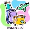 Vector Clipart illustration  of a luggage with an airplane
