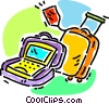 luggage and a notebook computer Vector Clip Art image