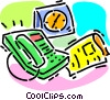 Vector Clip Art image  of a office phone and a newspaper