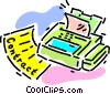 Vector Clip Art graphic  of a faxing a contract