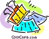Vector Clipart image  of a paperclip and papers
