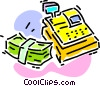 Vector Clip Art image  of a calculator and a bundle of