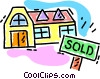 Vector Clip Art picture  of a House for sale