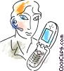 Vector Clipart image  of a People on Cellular Phones