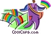 Vector Clipart graphic  of a Chasing Rainbows