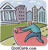 man rolling a red carpet to a bank Vector Clip Art graphic