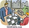 Men playing chess Vector Clip Art graphic