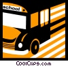 School Buses Vector Clipart graphic