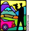 Vector Clipart illustration  of a man filming with his video